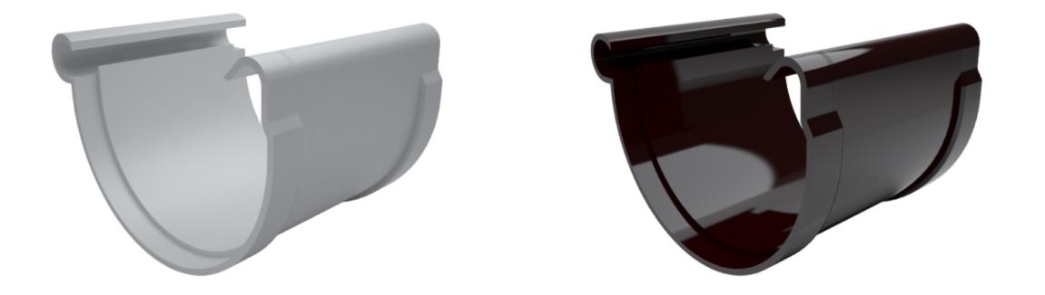 Муфта желоба MIRIDA 135 мм (белый/коричневый)